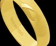 Aliança de ouro 18k reta