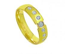 Aliança de ouro 18k anatômica com 7 diamantes