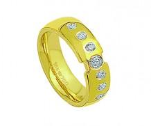 Aliança de ouro 18k com 7 diamantes anatômica