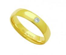 Aliança de ouro 18k com 1 diamante