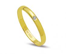 Aliança de ouro 18k reta com 1 diamante