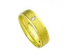 Aliança de ouro 18k anatômica 1 diamante