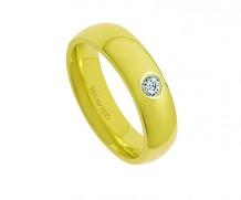 Aliança de ouro 18k reta/1 diamante anatômica