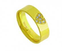 Aliança de ouro 18k com 6 diamantes anatômica