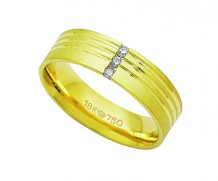 Aliança de ouro 18k com 3 diamantes anatômica