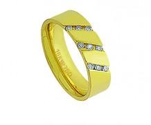 Aliança de ouro 18k com 9 diamantes anatômica