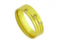 Aliança de ouro 18k anat/3 diamante(s) anatômica