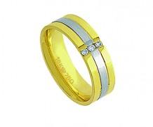 Aliança de ouro 18k anat/3 diamante anatômica