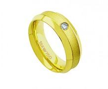 Aliança de ouro anaômica com 1 diamante