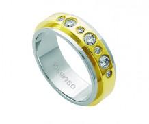 Aliança de ouro 18k reta com 7 diamantes