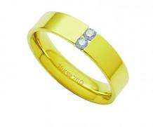 Aliança ouro 18k com 2 diamantes anatômica
