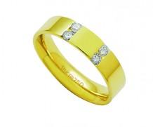 Aliança ouro 18k com 4 diamantes anatômica