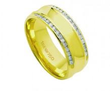 Aliança de ouro 18k  anatômica com 30 diamantes