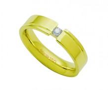 Aliança de ouro 18k anatômica com 1 diamante