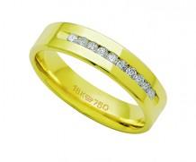 Aliança ouro 18k anatômica com 10 diamantes