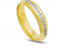 Aliança ouro 18k com 15 diamantes anatômica