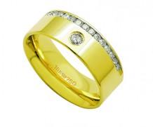 Aliança ouro 18k com 16 diamantes anatômica