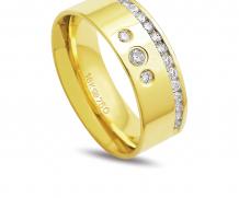 Aliança de ouro anatômica com 18 diamantes