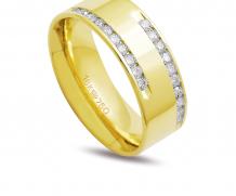 Aliança de ouro anatômica com 20 diamantes