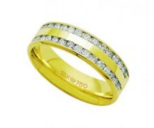 Aliança de ouro 18k com 30 diamantes anatômica