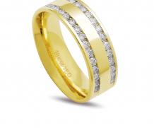 Aliança ouro 18k com 30 diamantes anatômica