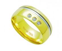 Aliança ouro 18k com 3 diamantes anatômica