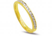 Aliança de ouro 18k com 15 diamantes anatômica