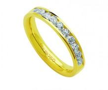 Aliança de ouro 18k com 10 diamantes anatômica