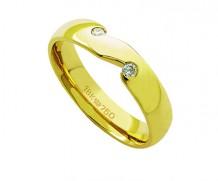 Aliança de ouro 18k com 2 diamantes anatômica