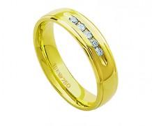 Aliança de ouro 18k com 5 diamantes anatômica