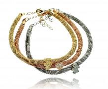 Pulseira italiana conj 3 cores dourado/grafite/rosê coração e menino e menina com zirc