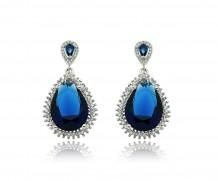 Brinco quartzo  azul safira