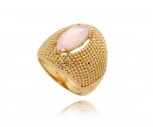 anel craquelado c/ quartzo navete