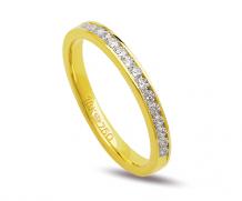 Aliança ouro 18k com 15 diamantes