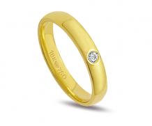 Aliança ouro 18k 1 diamante