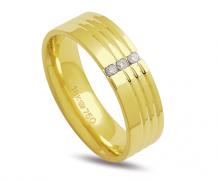 Aliança de ouro 18k  anatômica com diamantes