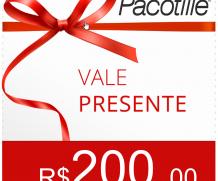 Vale Presente R$200, Pacotille - Dê este presente para que você ama. Adicione vários vales para aumentar o valor do presente !