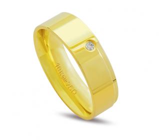 Aliança de ouro anatômica com diamante